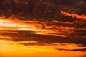 Sunset with orange clouds — Stock fotografie
