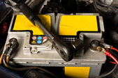 Car battery ready to be repaired — Stock Photo