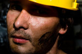 Tired industrial worker — Stockfoto