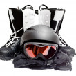 Snowboard boots, helmet, gloves, glasses on a white background. — Stock Photo #6842239