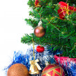 Colorful Christmas Decorations on a Tree Isolated on a White Bac — Stock Photo #6843204