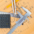 Mechanical circuit, a ruler, compass, calipers - Stock Photo