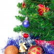 Stock Photo: Colorful Christmas Decorations on a Tree Isolated on a White Bac