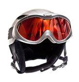 Ski helmet and ski goggles isolated on white background — Stock Photo