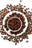 Coffee beans in a cup isolated on white — Stock Photo