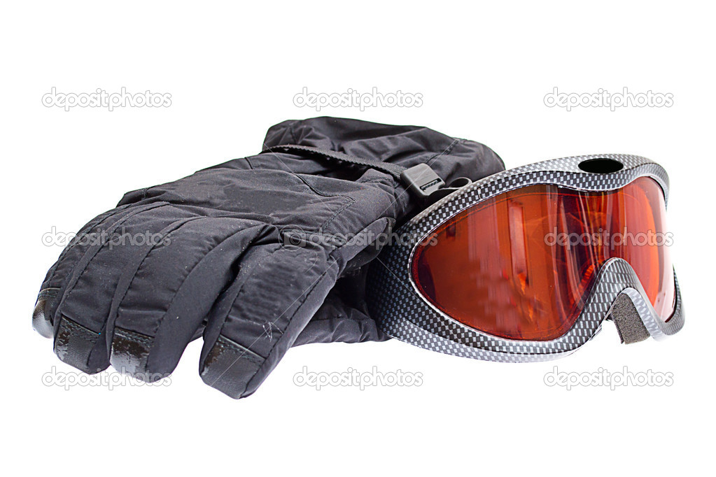 Ski snowboard goggles with gloves isolated on white background  Stock Photo #6842400