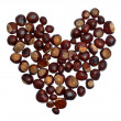 Heart from chestnuts isolated on whote background — ストック写真