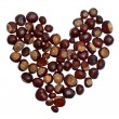 Heart from chestnuts isolated on whote background — Stock fotografie