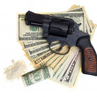 Handcuffs, gun and money isolated on a white background — Stock Photo