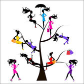 Sociology Tree different girls — Stock Photo