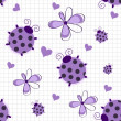 Romantic seamless pattern with ladybugs, hearts and flowers on a — Stock Photo