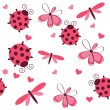 Romantic seamless pattern with dragonflies, ladybugs, hearts and - Stok fotoğraf
