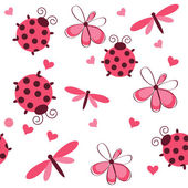 Romantyczne bezszwowe wzór z biedronki, ważki, serca i — Zdjęcie stockowe