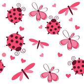 Romántico de patrones sin fisuras con las libélulas, las mariquitas, corazones y — Foto de Stock
