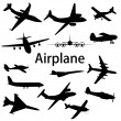Collection of different airplane silhouettes. Vector illustratio - Stockfoto