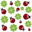 Vector clover leaf with ladybird  seamless pattern — Stock fotografie