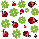 Vector clover leaf with ladybird seamless pattern — Stock Photo