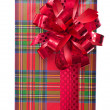 Single Christmas gift box with bow — Stock Photo