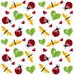 Vector clover leaf with ladybird seamless pattern - 