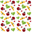 Vector clover leaf with ladybird seamless pattern - Foto Stock