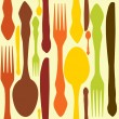 Seamless pattern with forks, spoons end knifes. Vector illustrat - Foto Stock