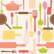 Vector seamless pattern of kitchen tools. - Foto de Stock  