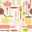 Vector seamless pattern of kitchen tools. - Foto Stock