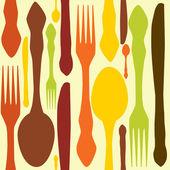 Patrones sin fisuras con los tenedores, cuchillos de final cucharas. vector illustrat — Foto de Stock