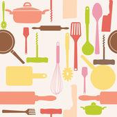 Modello senza saldatura vettoriale di utensili da cucina. — Foto Stock