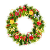Realistic christmas wreath — Stock Photo