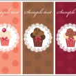 Beautiful card with sweet cupcakes. Dessert set banners design i — Stock Photo
