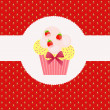 Strawberry cake on strawberry background. Vector illustration. — Stock Photo