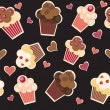 Stock Photo: Seamless cake pattern. Vector illustration