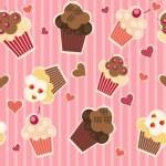 Seamless cake pattern. Vector illustration — Stock Photo