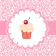 Stock Photo: Card with cupcake. vector illustration
