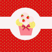 Strawberry cake on strawberry background. Vector illustration. — Stock Photo