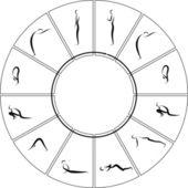 Vector Yoga Asanas — Stock Vector