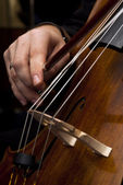Hands playing cello — Stock Photo