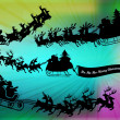 Flying santa`s - Stock Photo