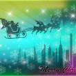 Santa in his sleigh with his reindeer flying above New York - Stock Photo