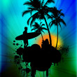 Tropical background with surfer in abstract background - Lizenzfreies Foto