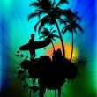 Tropical background with surfer in abstract background - Stockfoto
