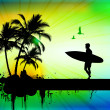 Tropical background with surfer in abstract background - Stock Photo