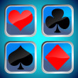Photo: Blue buttons with poker card symbols