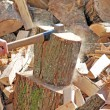 Stock Photo: Firewood with axe