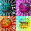 Concept of innovation and creative words in globe form - Stockfoto