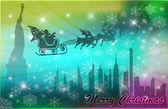 Santa in his sleigh with his reindeer flying above New York — 图库照片