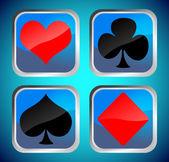 Blauwe knoppen met poker kaart symbolen — Stockfoto