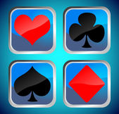 Blue buttons with poker card symbols — 图库照片