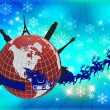 Santa in his sleigh with his reindeer around the world - Stock Photo